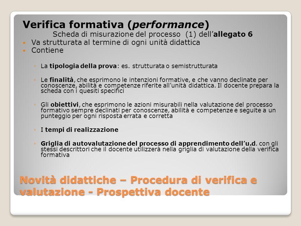 Novità didattiche – Procedura di verifica e valutazione - Prospettiva docente Verifica formativa (performance) Scheda di misurazione del processo (1)