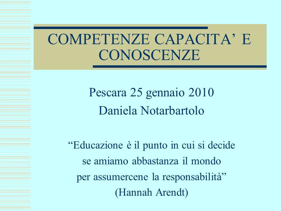 COMPETENZE CAPACITA E CONOSCENZE Pescara 25 gennaio 2010 Daniela Notarbartolo Educazione è il punto in cui si decide se amiamo abbastanza il mondo per assumercene la responsabilità (Hannah Arendt)