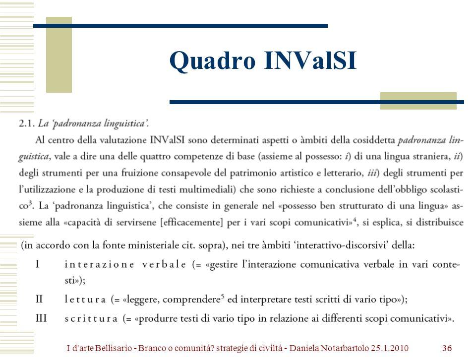Quadro INValSI 36 I d arte Bellisario - Branco o comunità.