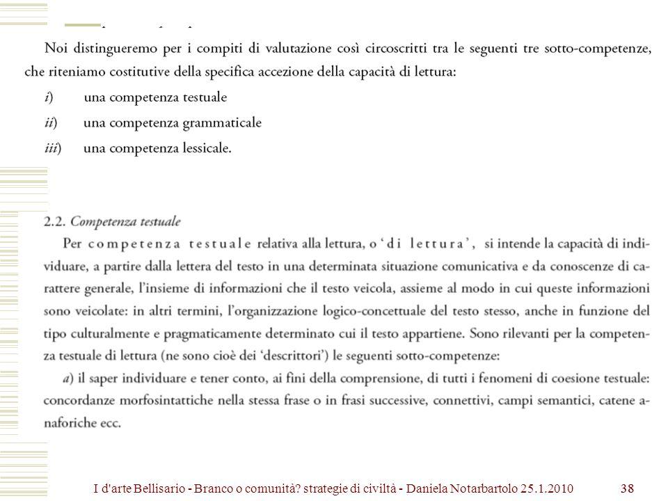 38 I d arte Bellisario - Branco o comunità? strategie di civiltà - Daniela Notarbartolo 25.1.2010