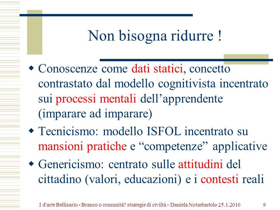 Percentuale degli studenti a ciascun livello della scala complessiva di lettura, in Italia (2006) < livello 1: 11,4% (media OCSE 7,4) livello 1: 15,0% (media OCSE 12,7) livello 2: 24,5% (media OCSE 22,7) livello 3: 26,4% (media OCSE 27,8) livello 4: 17,5% (media OCSE 20,7) livello 5: 5,2% (media OCSE 8,6) Punteggio in lettura per livelli: 20I d arte Bellisario - Branco o comunità.