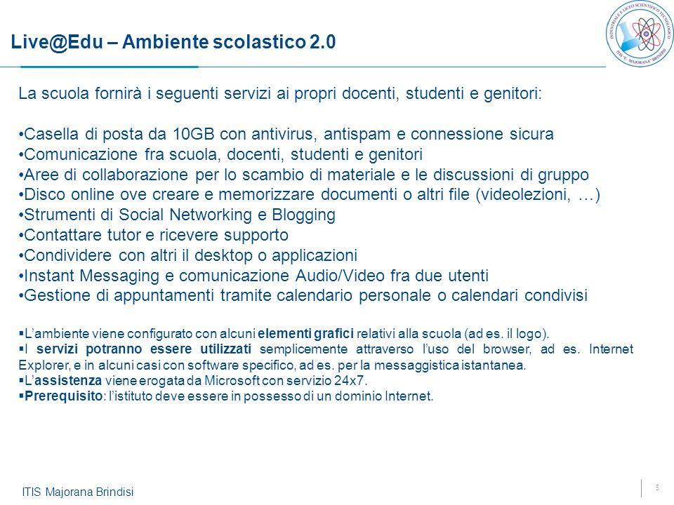 5 ITIS Majorana Brindisi Live@Edu – Ambiente scolastico 2.0 La scuola fornirà i seguenti servizi ai propri docenti, studenti e genitori: Casella di po