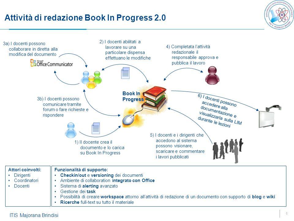 6 ITIS Majorana Brindisi Attività di redazione Book In Progress 2.0 1) Il docente crea il documento e lo carica su Book In Progress 2) I docenti abili