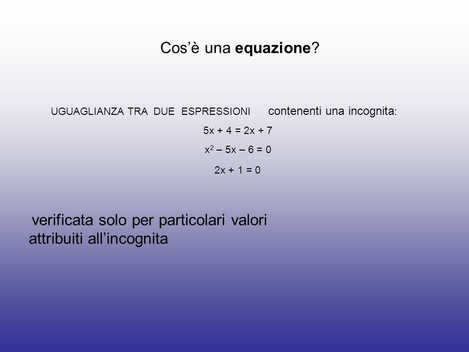 Cosè una equazione? verificata solo per particolari valori attribuiti allincognita UGUAGLIANZA TRA DUE ESPRESSIONI contenenti una incognita : 5x + 4 =