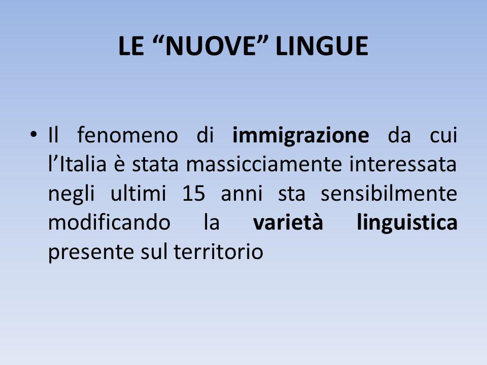 LE NUOVE LINGUE Il fenomeno di immigrazione da cui lItalia è stata massicciamente interessata negli ultimi 15 anni sta sensibilmente modificando la va