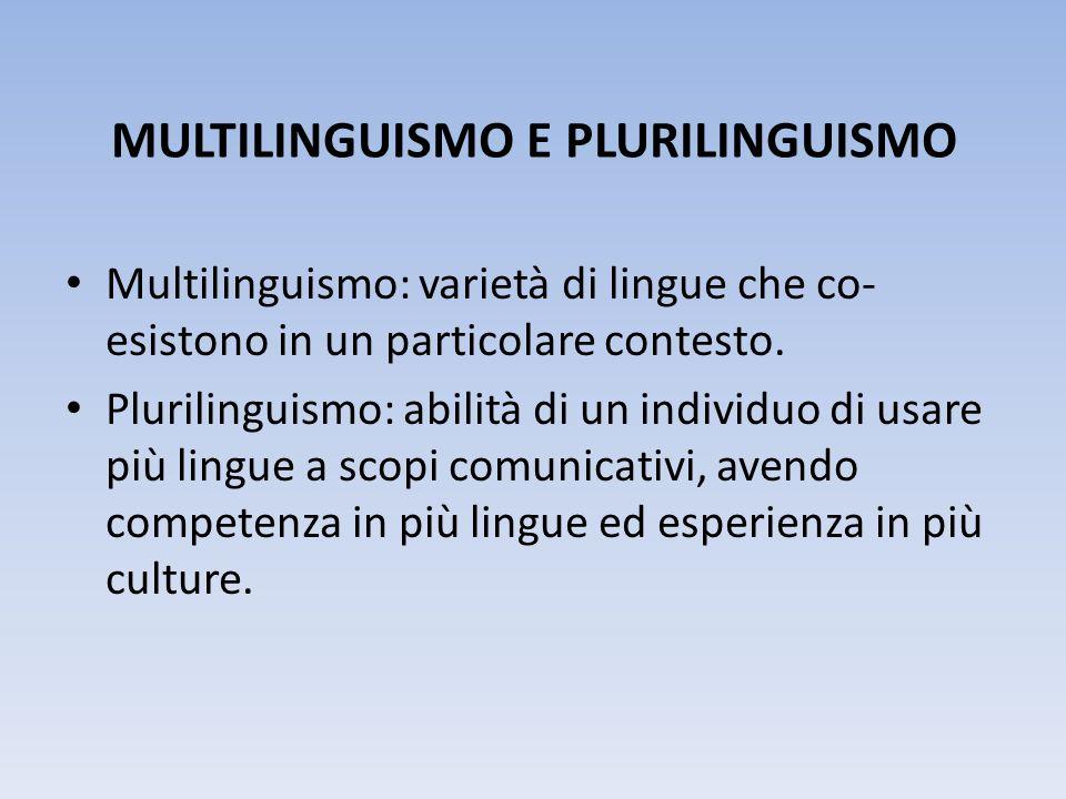 MULTILINGUISMO E PLURILINGUISMO Multilinguismo: varietà di lingue che co- esistono in un particolare contesto. Plurilinguismo: abilità di un individuo