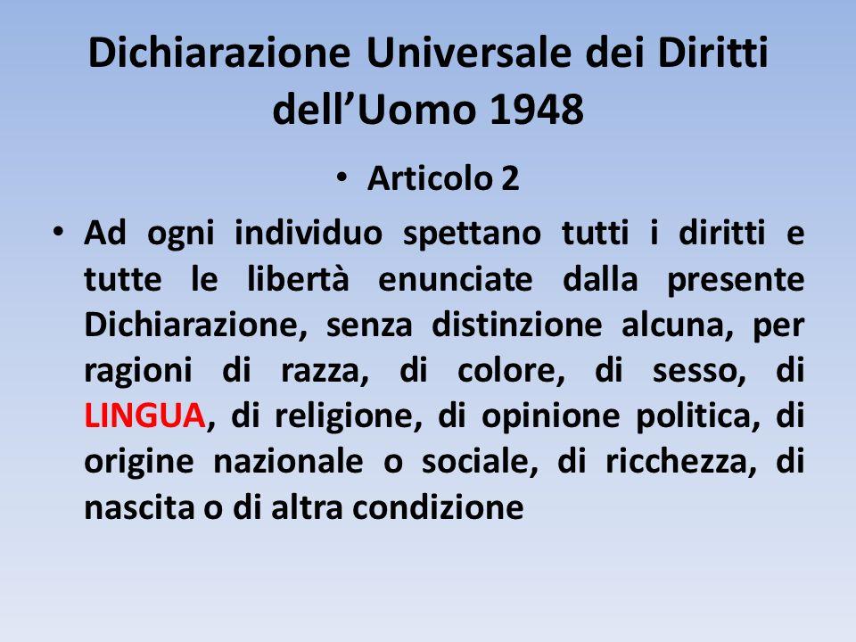 Dichiarazione Universale dei Diritti dellUomo 1948 Articolo 2 Ad ogni individuo spettano tutti i diritti e tutte le libertà enunciate dalla presente D