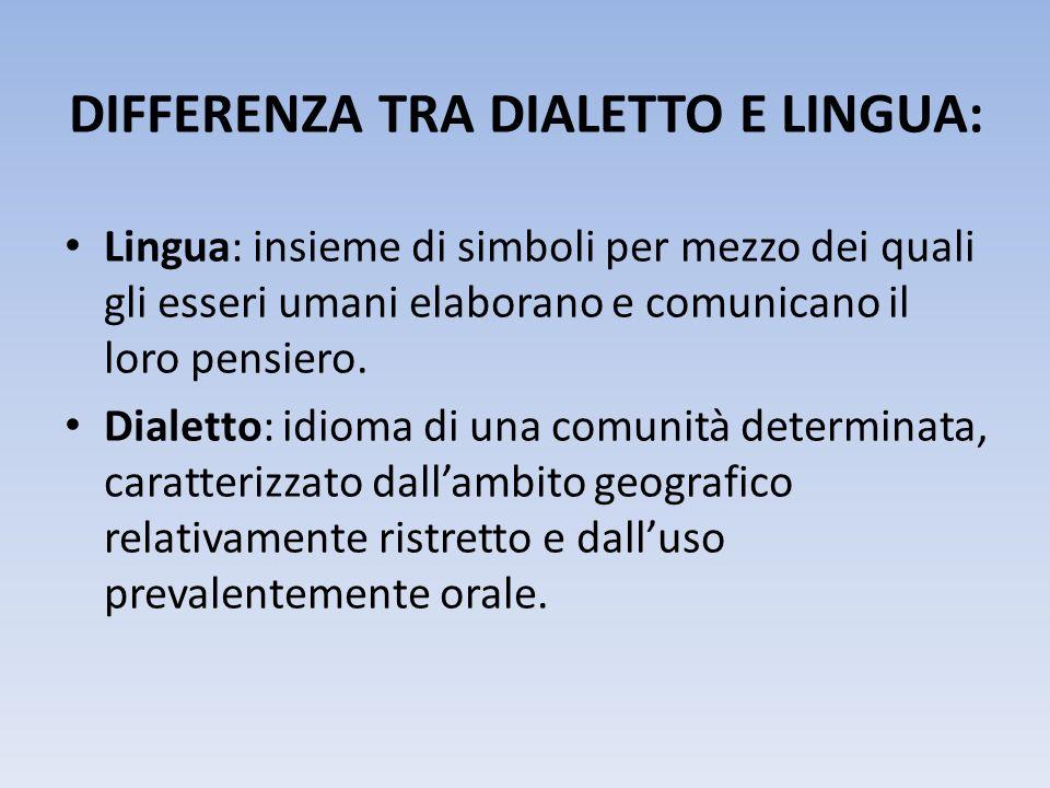 DIFFERENZA TRA DIALETTO E LINGUA: Lingua: insieme di simboli per mezzo dei quali gli esseri umani elaborano e comunicano il loro pensiero. Dialetto: i