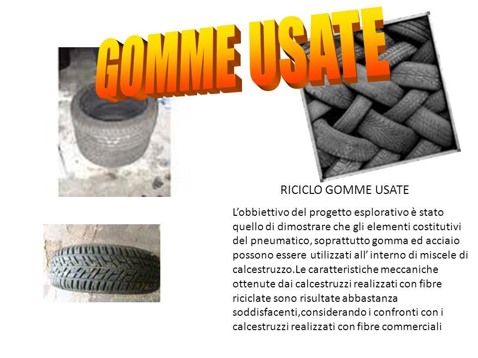 RICICLO GOMME USATE Lobbiettivo del progetto esplorativo è stato quello di dimostrare che gli elementi costitutivi del pneumatico, soprattutto gomma e
