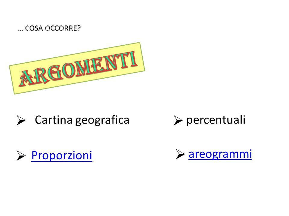 Proporzioni Cartina geografica areogrammi percentuali … COSA OCCORRE?