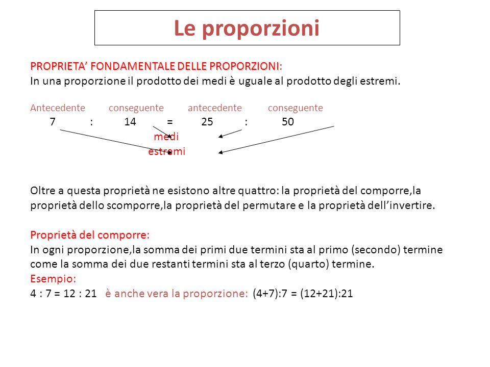 Le proporzioni PROPRIETA FONDAMENTALE DELLE PROPORZIONI PROPRIETA FONDAMENTALE DELLE PROPORZIONI: In una proporzione il prodotto dei medi è uguale al