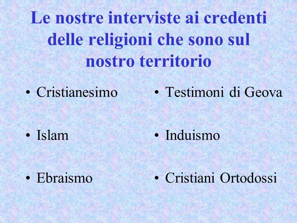Le nostre interviste ai credenti delle religioni che sono sul nostro territorio Cristianesimo Islam Ebraismo Testimoni di Geova Induismo Cristiani Ort
