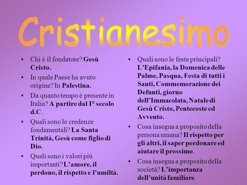 Chi è il fondatore? Gesù Cristo. In quale Paese ha avuto origine? In Palestina. Da quanto tempo è presente in Italia? A partire dal I° secolo d.C. Qua