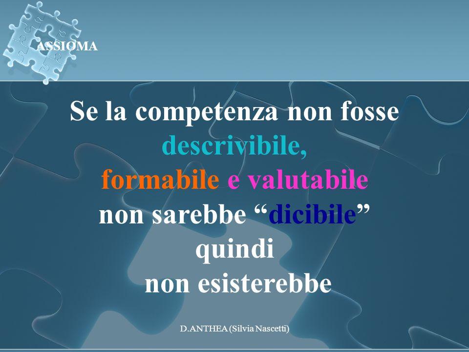Se la competenza non fosse descrivibile, formabile e valutabile non sarebbe dicibile quindi non esisterebbe ASSIOMA D.ANTHEA (Silvia Nascetti)