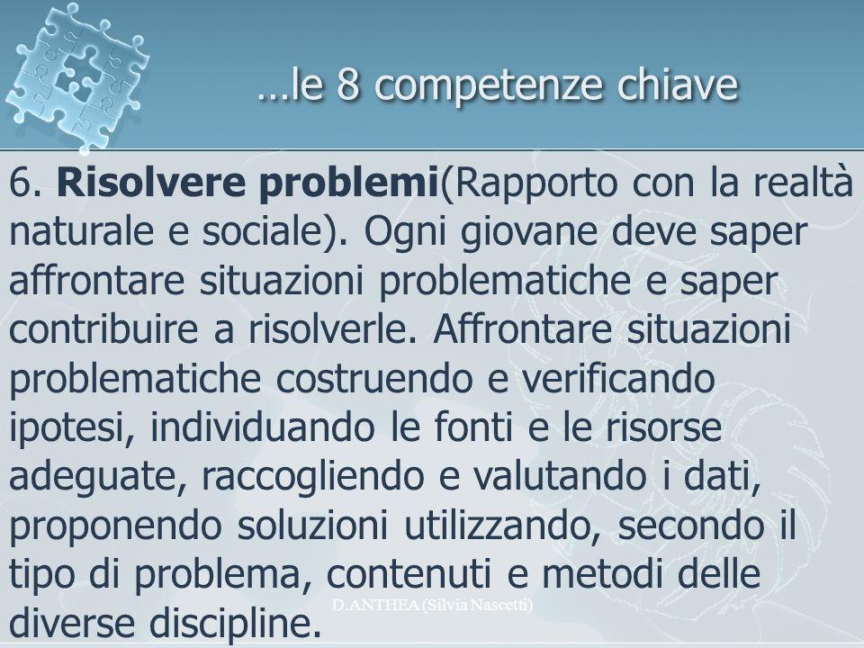 …le 8 competenze chiave 6. Risolvere problemi(Rapporto con la realtà naturale e sociale). Ogni giovane deve saper affrontare situazioni problematiche