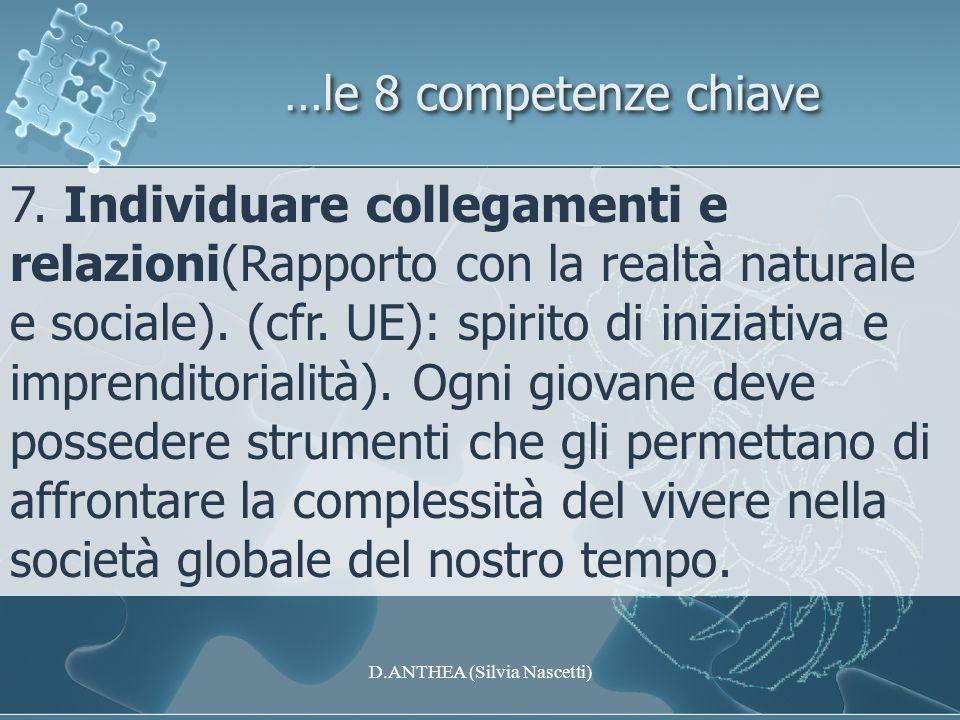 …le 8 competenze chiave 7. Individuare collegamenti e relazioni(Rapporto con la realtà naturale e sociale). (cfr. UE): spirito di iniziativa e imprend