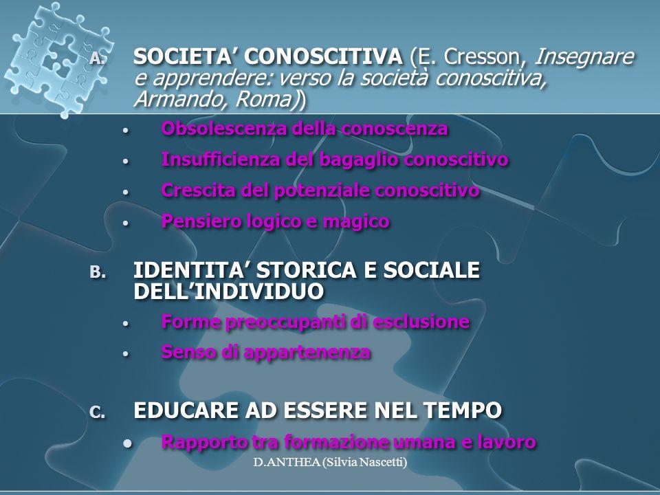 A. SOCIETA CONOSCITIVA (E. Cresson, Insegnare e apprendere: verso la società conoscitiva, Armando, Roma)) Obsolescenza della conoscenza Insufficienza