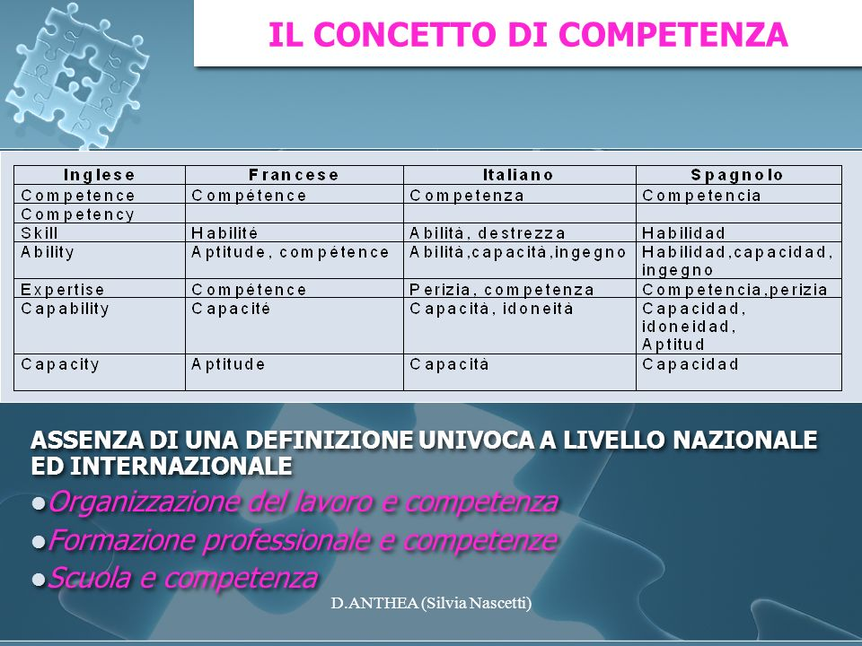 ASSENZA DI UNA DEFINIZIONE UNIVOCA A LIVELLO NAZIONALE ED INTERNAZIONALE Organizzazione del lavoro e competenza Formazione professionale e competenze