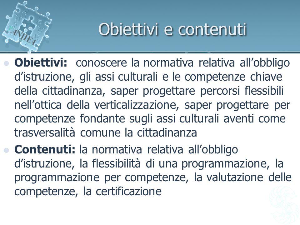 Obiettivi e contenuti Obiettivi: conoscere la normativa relativa allobbligo distruzione, gli assi culturali e le competenze chiave della cittadinanza,