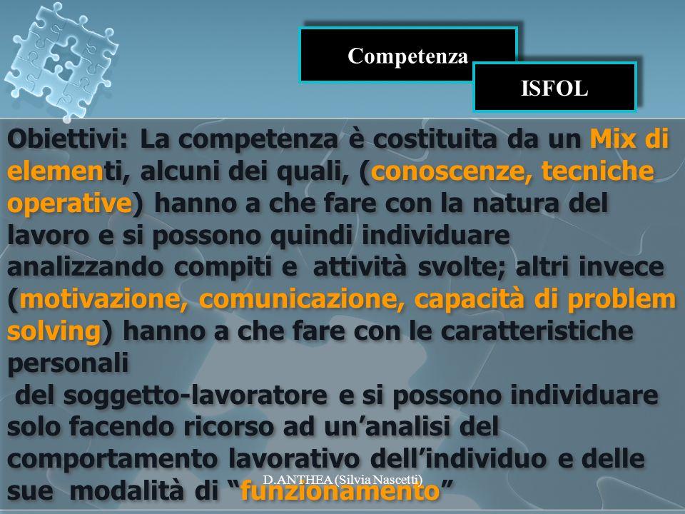 Competenza ISFOL Obiettivi: La competenza è costituita da un Mix di elementi, alcuni dei quali, (conoscenze, tecniche operative) hanno a che fare con