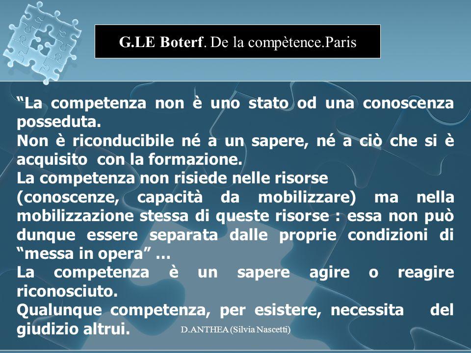 G.LE Boterf. De la compètence.Paris La competenza non è uno stato od una conoscenza posseduta. Non è riconducibile né a un sapere, né a ciò che si è a