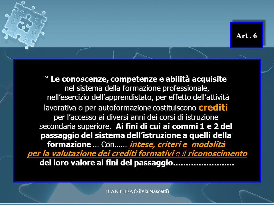Art. 6 Le conoscenze, competenze e abilità acquisite nel sistema della formazione professionale, nellesercizio dellapprendistato, per effetto dellatti