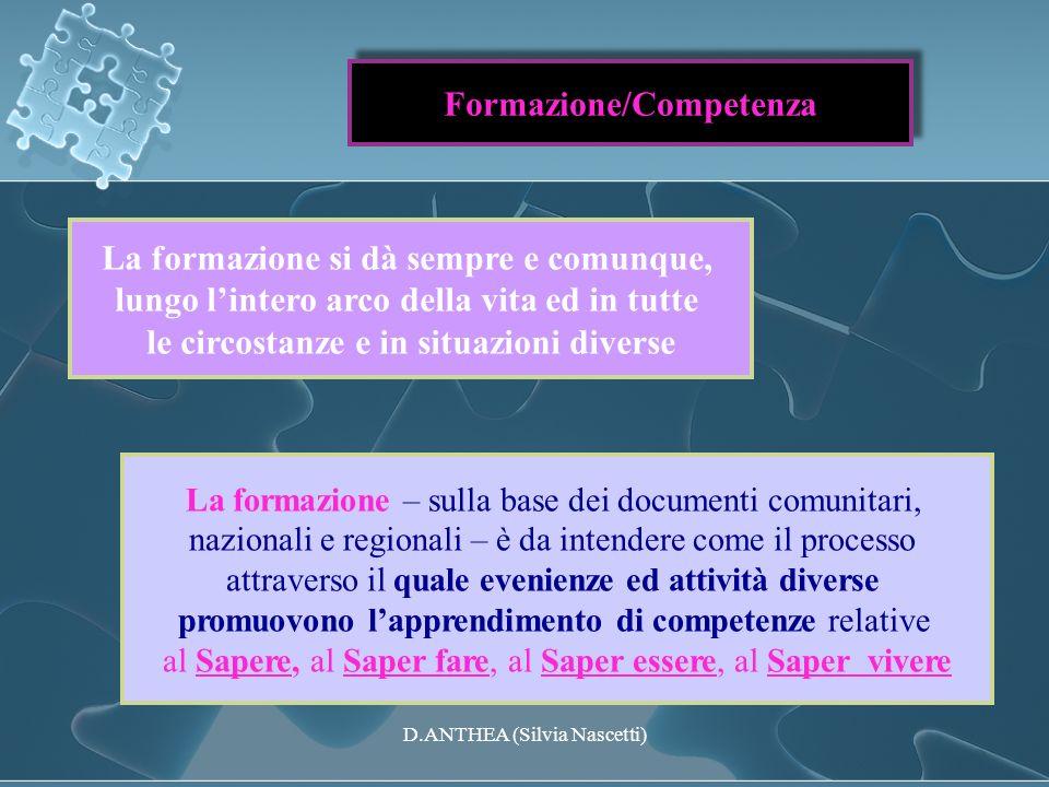 Formazione/Competenza La formazione – sulla base dei documenti comunitari, nazionali e regionali – è da intendere come il processo attraverso il quale