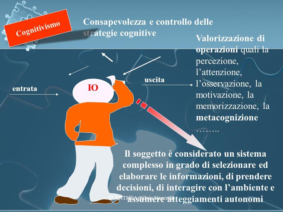 entrata uscita Consapevolezza e controllo delle strategie cognitive Valorizzazione di operazioni quali la percezione, lattenzione, losservazione, la m