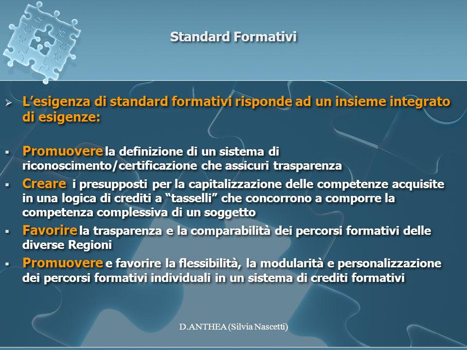 Standard Formativi Lesigenza di standard formativi risponde ad un insieme integrato di esigenze: Promuovere la definizione di un sistema di riconoscim
