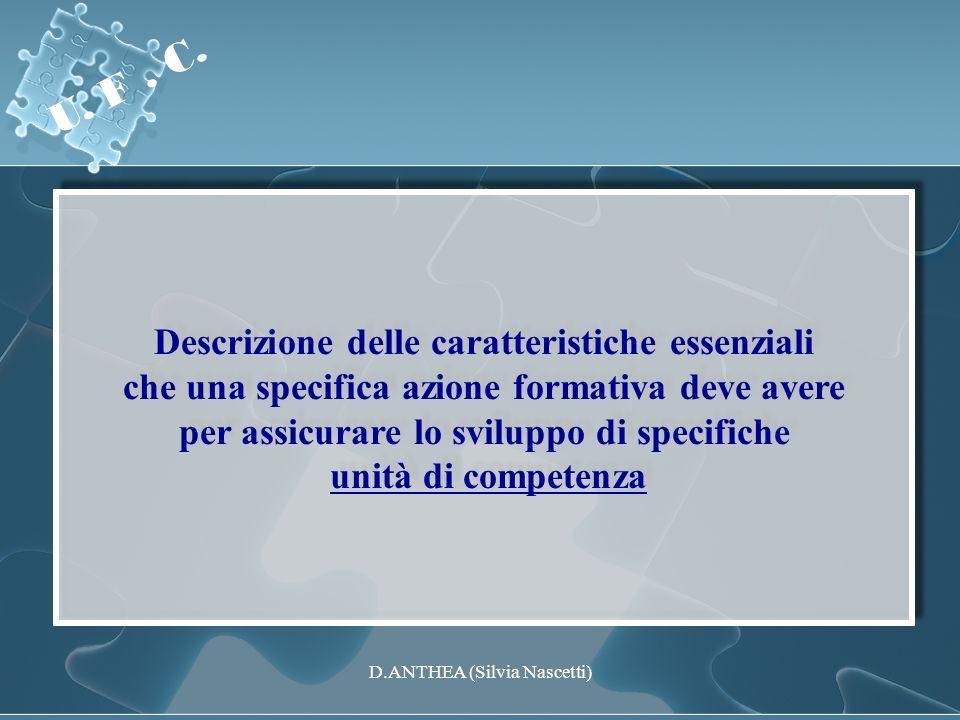 Descrizione delle caratteristiche essenziali che una specifica azione formativa deve avere per assicurare lo sviluppo di specifiche unità di competenz