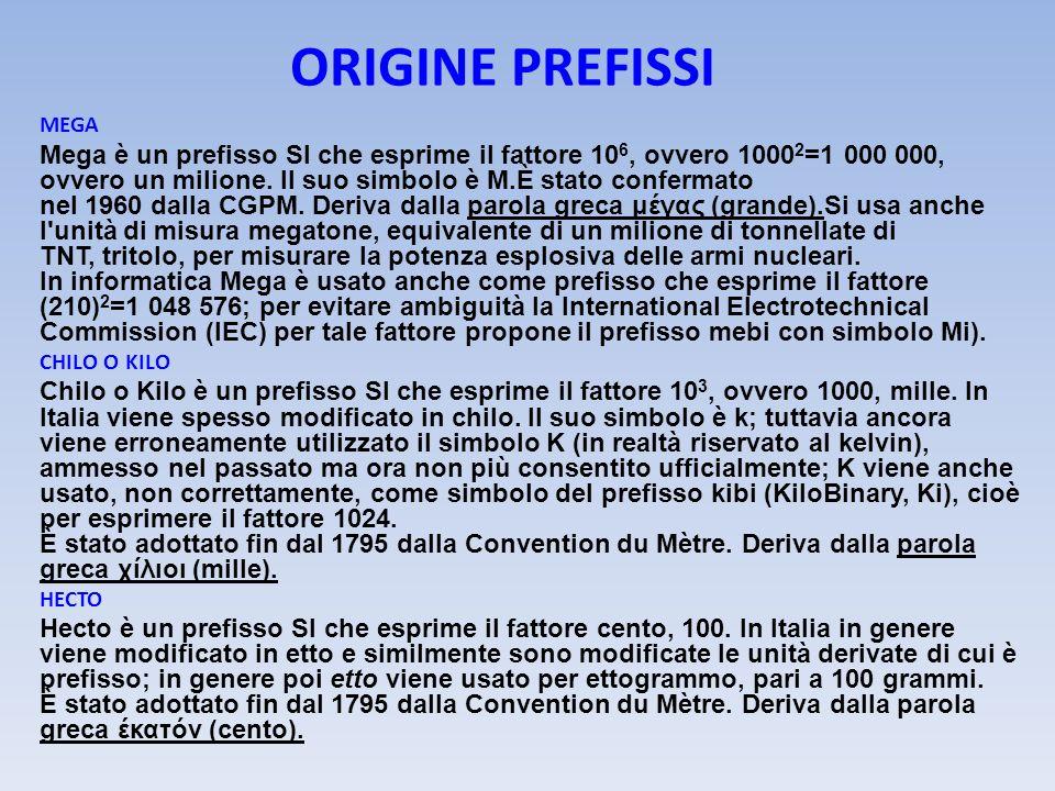 ORIGINE PREFISSI MEGA Mega è un prefisso SI che esprime il fattore 10 6, ovvero 1000 2 =1 000 000, ovvero un milione. Il suo simbolo è M.È stato confe