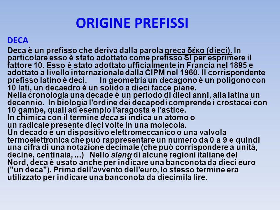 ORIGINE PREFISSI DECA Deca è un prefisso che deriva dalla parola greca δέκα (dieci). In particolare esso è stato adottato come prefisso SI per esprime