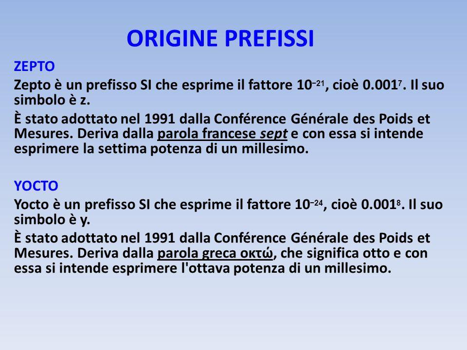 ORIGINE PREFISSI ZEPTO Zepto è un prefisso SI che esprime il fattore 10 21, cioè 0.001 7. Il suo simbolo è z. È stato adottato nel 1991 dalla Conféren