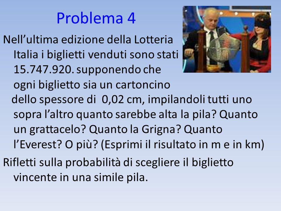 Problema 4 Nellultima edizione della Lotteria Italia i biglietti venduti sono stati 15.747.920. supponendo che ogni biglietto sia un cartoncino dello