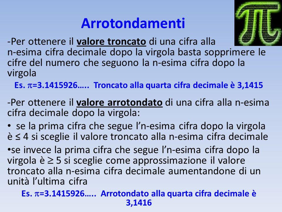 Arrotondamenti -Per ottenere il valore troncato di una cifra alla n-esima cifra decimale dopo la virgola basta sopprimere le cifre del numero che segu