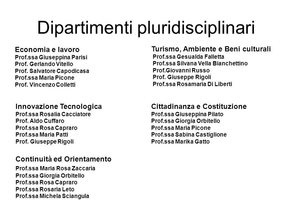 Dipartimenti pluridisciplinari Economia e lavoro Prof.ssa Giuseppina Parisi Prof. Gerlando Vitello Prof. Salvatore Capodicasa Prof.ssa Maria Picone Pr