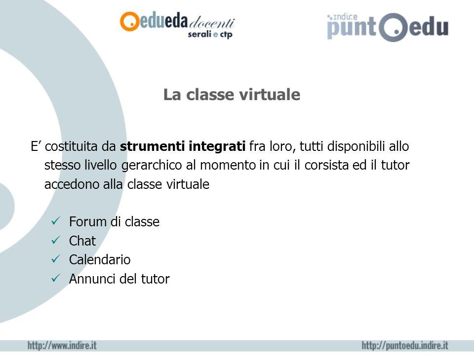 E costituita da strumenti integrati fra loro, tutti disponibili allo stesso livello gerarchico al momento in cui il corsista ed il tutor accedono alla classe virtuale Forum di classe Chat Calendario Annunci del tutor