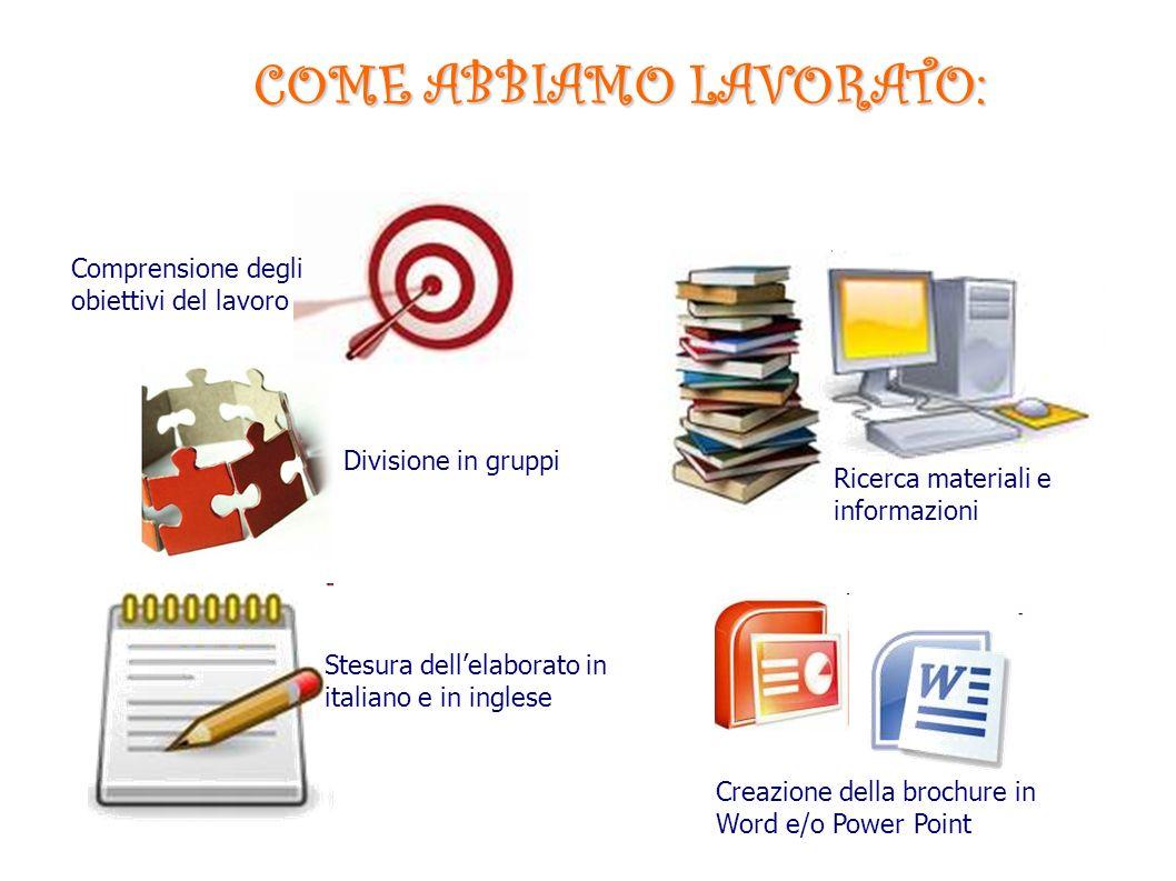 COME ABBIAMO LAVORATO: Ricerca materiali e informazioni Stesura dellelaborato in italiano e in inglese Divisione in gruppi Creazione della brochure in