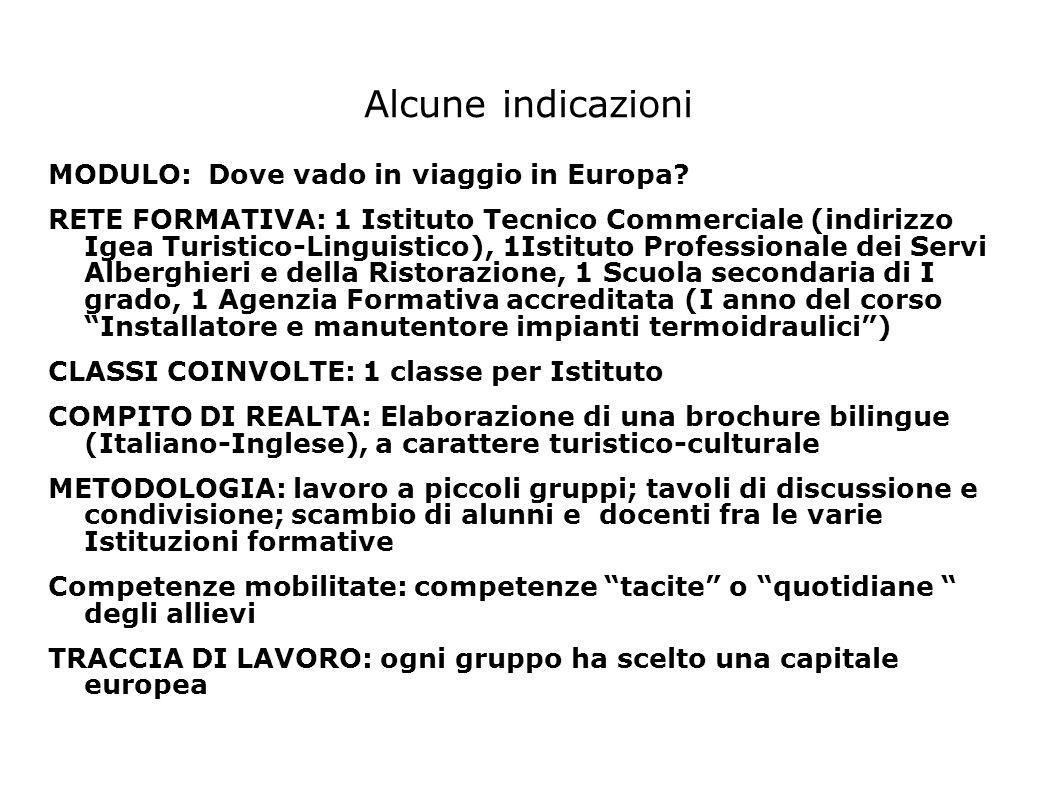 Alcune indicazioni MODULO: Dove vado in viaggio in Europa? RETE FORMATIVA: 1 Istituto Tecnico Commerciale (indirizzo Igea Turistico-Linguistico), 1Ist