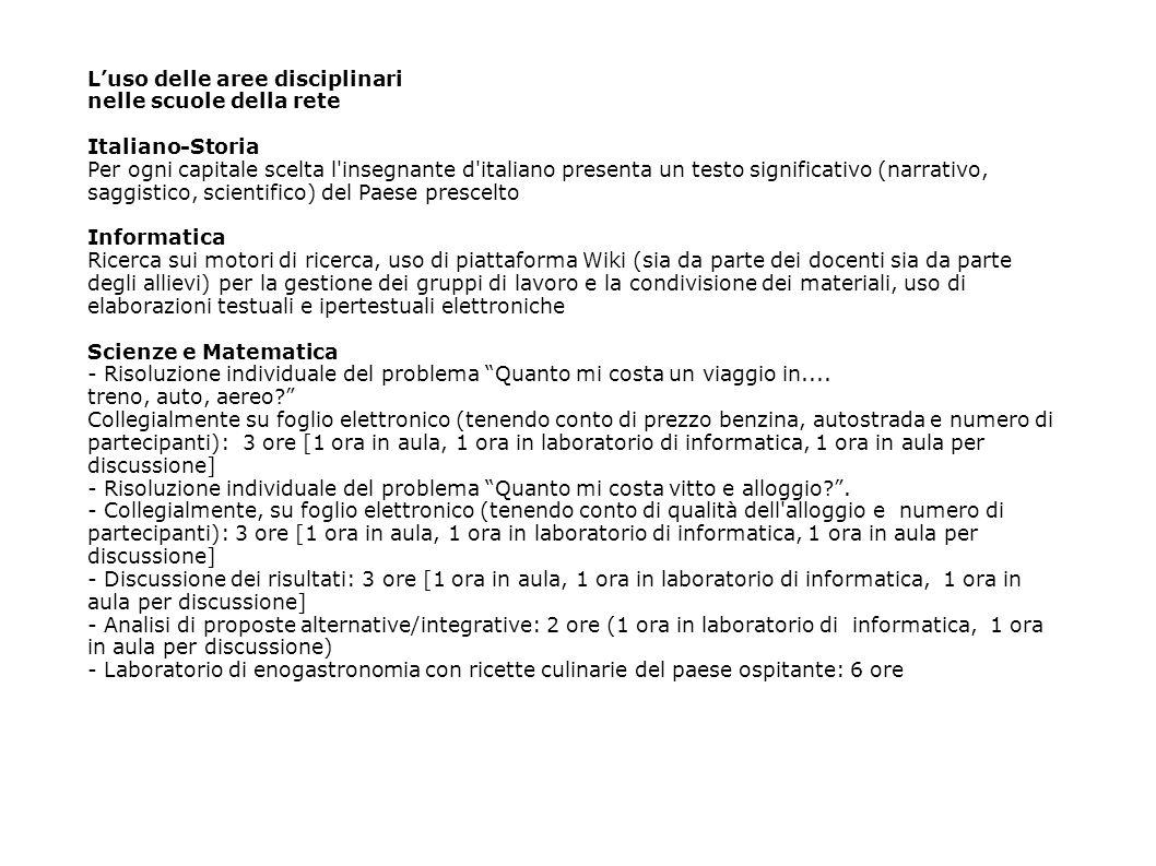 Luso delle aree disciplinari nelle scuole della rete Italiano-Storia Per ogni capitale scelta l'insegnante d'italiano presenta un testo significativo