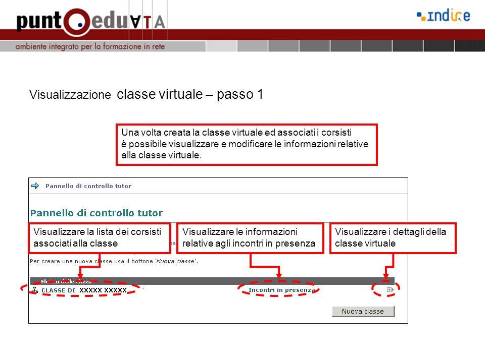 Visualizzazione classe virtuale – passo 2 Visualizzazione dati della lista di corsisti associati alla classe Visualizza i dati relativi agli incontri in presenza Visualizza e stampa lattestato del corsista Visualizza i dettagli del singolo corsista