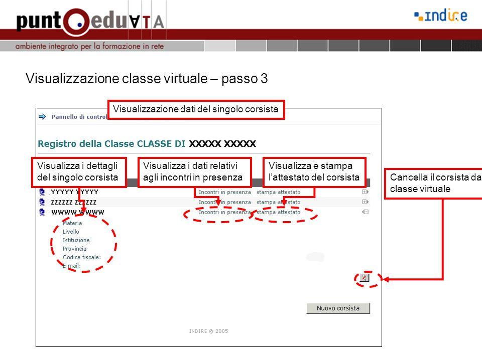 Visualizzazione classe virtuale – passo 3 Visualizzazione dati del singolo corsista Visualizza i dati relativi agli incontri in presenza Visualizza e stampa lattestato del corsista Cancella il corsista dalla classe virtuale Visualizza i dettagli del singolo corsista