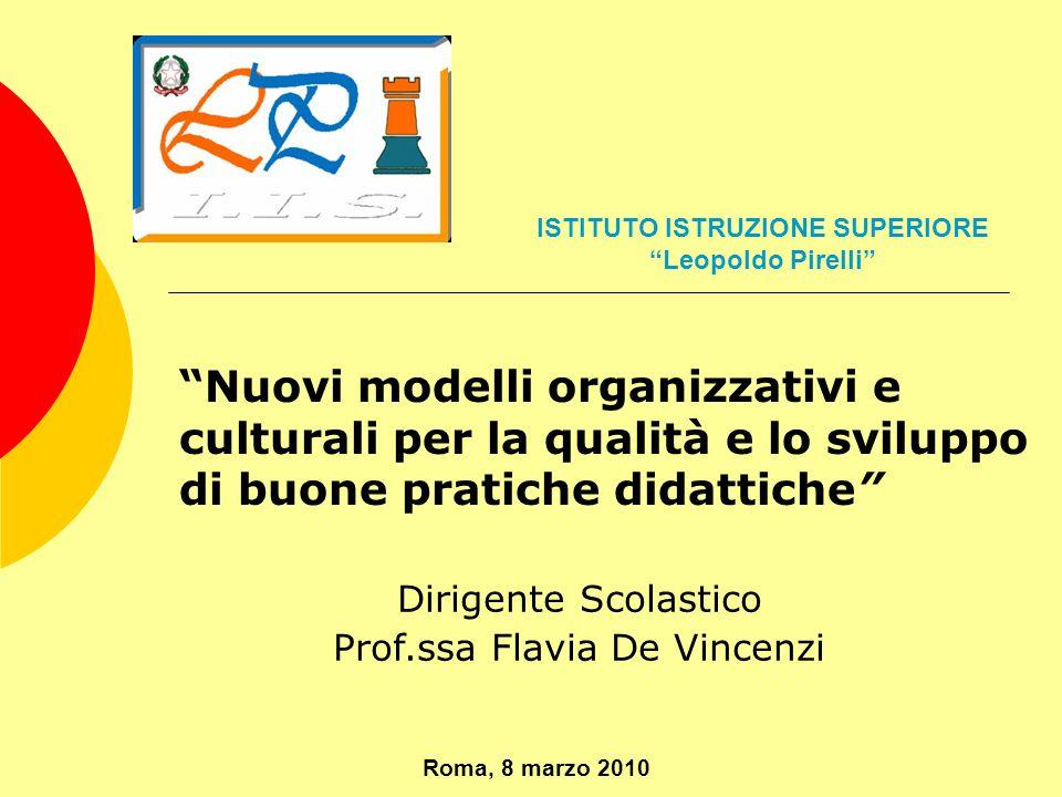 Nuovi modelli organizzativi e culturali per la qualità e lo sviluppo di buone pratiche didattiche Dirigente Scolastico Prof.ssa Flavia De Vincenzi Rom
