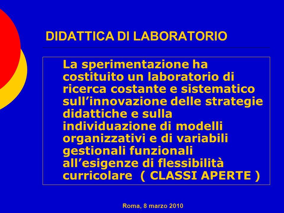DIDATTICA DI LABORATORIO 1. La sperimentazione ha costituito un laboratorio di ricerca costante e sistematico sullinnovazione delle strategie didattic