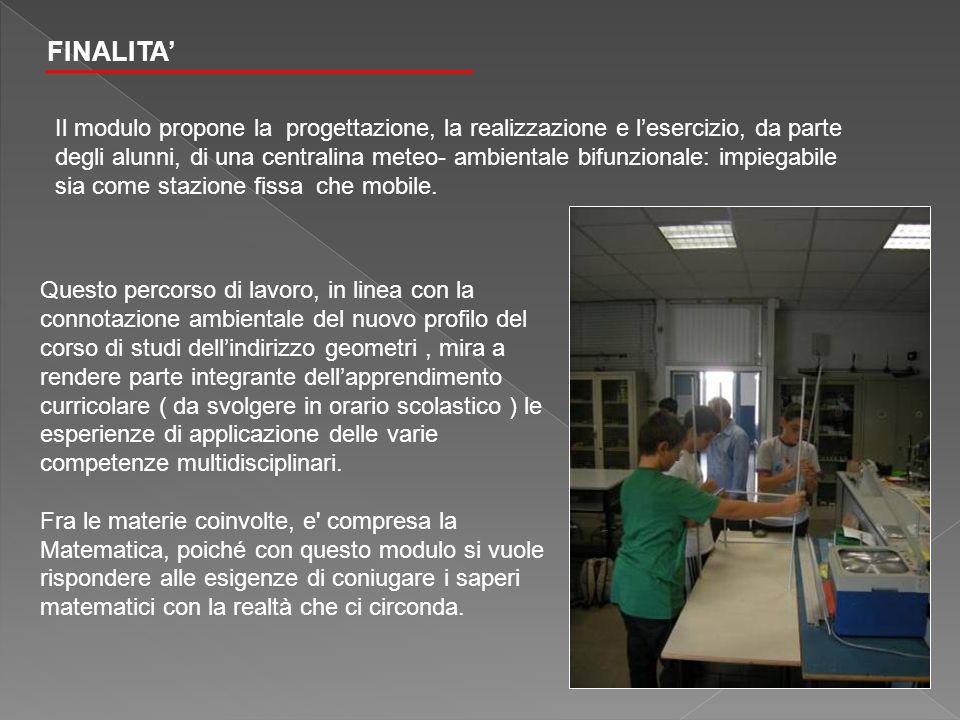 FINALITA Il modulo propone la progettazione, la realizzazione e lesercizio, da parte degli alunni, di una centralina meteo- ambientale bifunzionale: i
