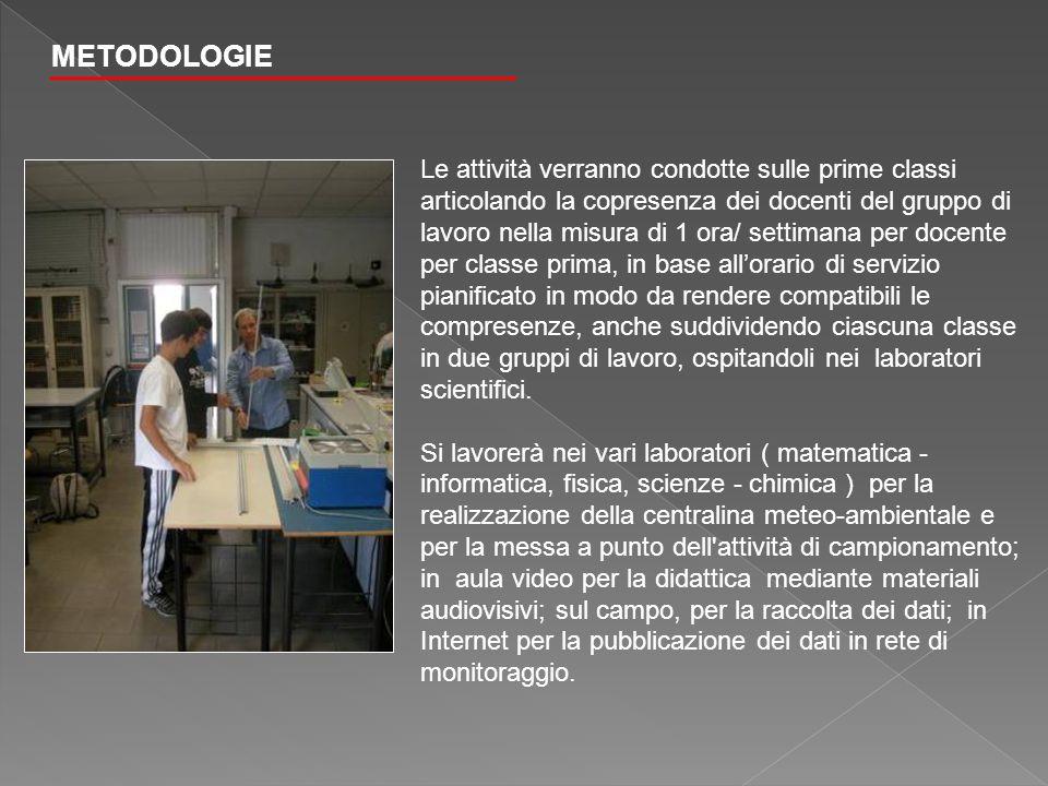 METODOLOGIE Le attività verranno condotte sulle prime classi articolando la copresenza dei docenti del gruppo di lavoro nella misura di 1 ora/ settima