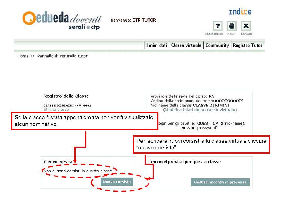 Visualizza i dati relativi agli incontri in presenza Per cancellare la classe virtuale cliccare elimina Per modificare le informazioni della classe virtuale cliccare modifica