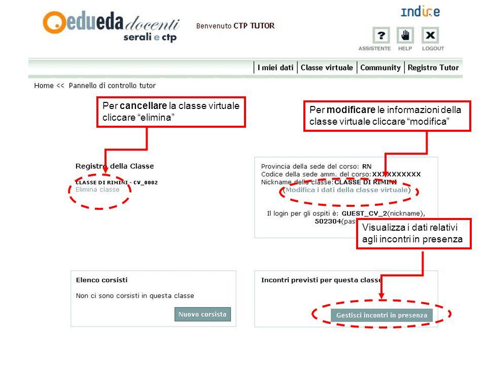 Visualizza i dati relativi agli incontri in presenza Per cancellare la classe virtuale cliccare elimina Per modificare le informazioni della classe vi