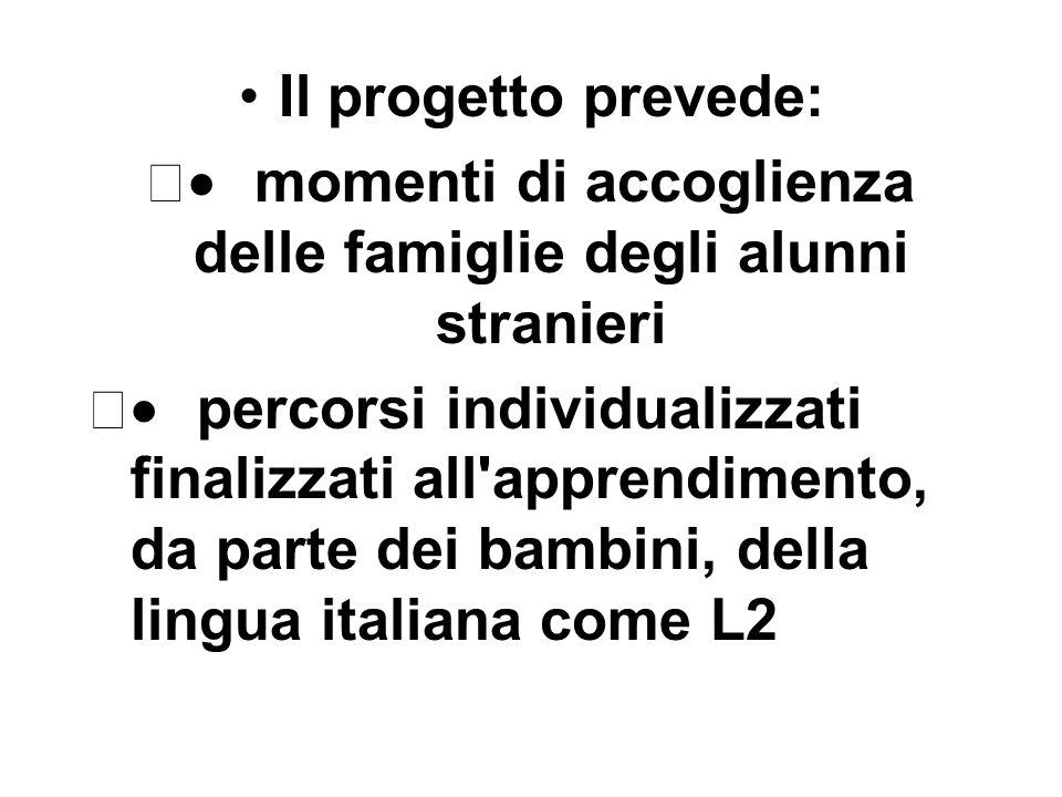 Il progetto prevede: momenti di accoglienza delle famiglie degli alunni stranieri percorsi individualizzati finalizzati all apprendimento, da parte dei bambini, della lingua italiana come L2