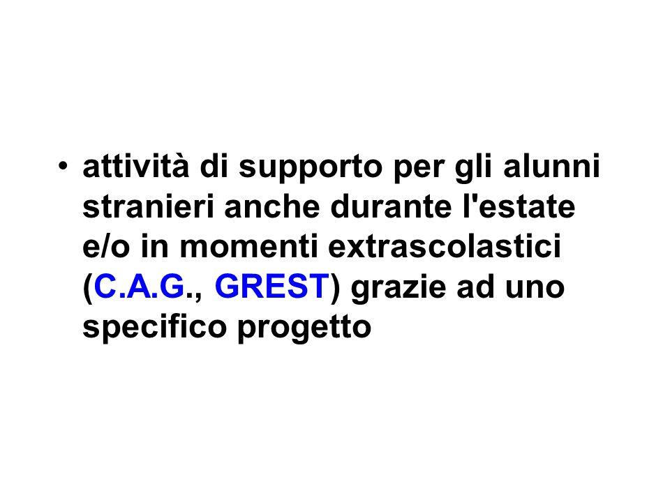 attività di supporto per gli alunni stranieri anche durante l estate e/o in momenti extrascolastici (C.A.G., GREST) grazie ad uno specifico progetto